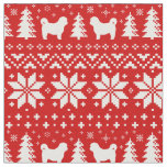 Shih Tzu Silhouettes Christmas Pattern Red Fabric