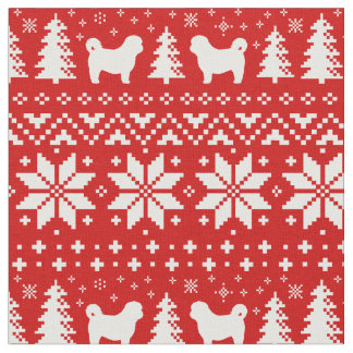 Shih Tzu Silhouettes Christmas Pattern Red Fabric
