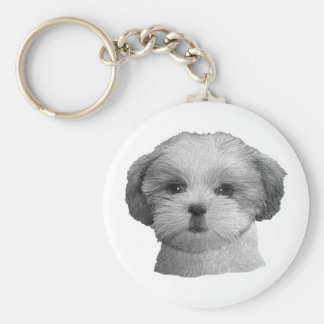Shih Tzu - Stylized Image - Add Your Qwn Text Basic Round Button Key Ring