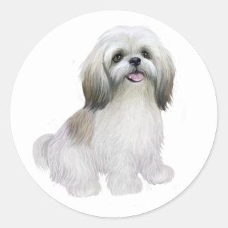 Shih Tzu - White with grey-tan Round Sticker