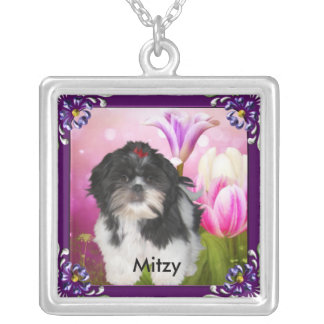 Shih tzu with Purple Frame & Flowers Named Silver Plated Necklace