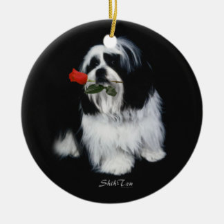 Shih Tzu With Rose Christmas Ornament