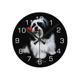 Shih Tzu With Rose Round Clock