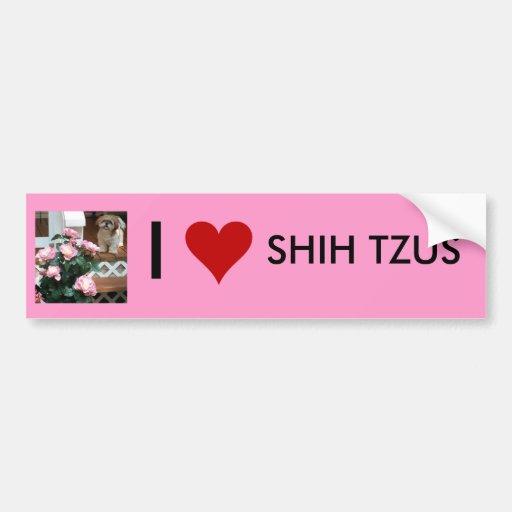 Shih Tzu with Spring Flowers Bumper Sticker