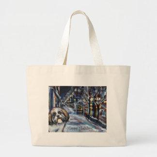 Shih Tzu Xmas Christmas wintry scene Tote Bag