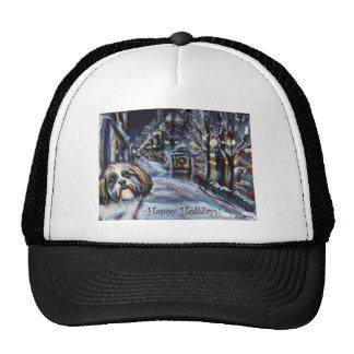 Shih Tzu Xmas Christmas wintry scene Hats