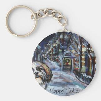 Shih Tzu Xmas Christmas wintry scene Key Chain