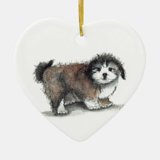 Shihtzu Puppy Dog, Pet Ceramic Heart Decoration