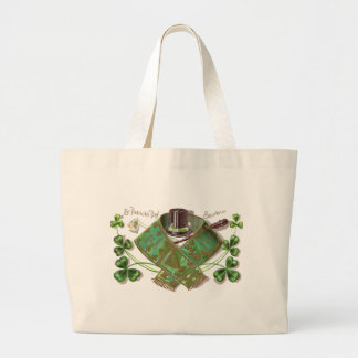 Shillelagh, Hat and Scarf Vintage St Patrick's Day Large Tote Bag