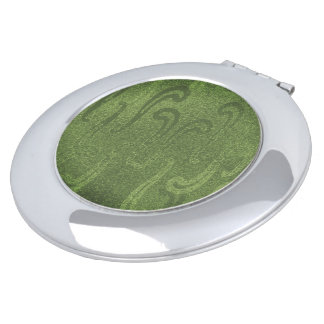 Shimmer-Branded-Green--Faux* Suede--Multi Shapes Makeup Mirrors