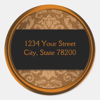 Shimmer Damask Copper Return Address Seal Round Sticker