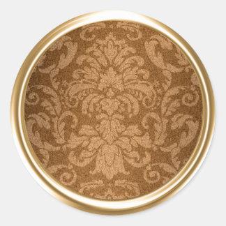 Shimmer Damask Gold Envelope Seal Round Sticker