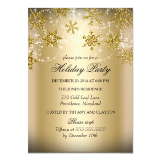 Shimmer Snowflake Gold Christmas Holiday Party Card