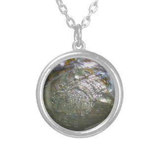 Shimmering Abalone Seashell, Beautiful Nature Silver Plated Necklace