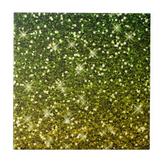 Shimmering Dark Green Gold Glitters Small Square Tile