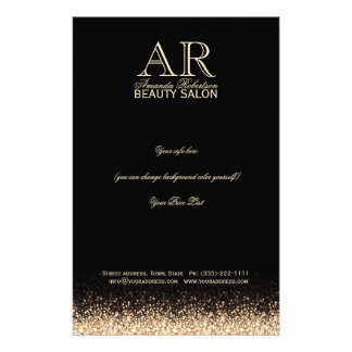 Shimmering Gold Star Design Black Price List 14 Cm X 21.5 Cm Flyer