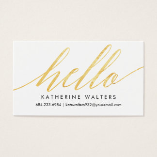 Shimmering Hello Gold Faux Foil Calling Card