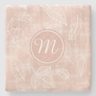 Shimmering Leaves Outline Rose Gold Monogram ID288 Stone Coaster