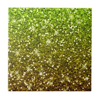 Shimmering Light Green Gold Glitters Small Square Tile