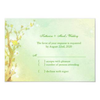 Shimmering Light Green Tree Wedding RSVP 9 Cm X 13 Cm Invitation Card