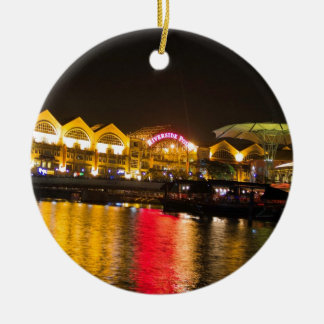 Shimmering lights and reflection in the water round ceramic decoration