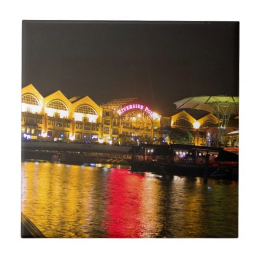 Shimmering lights and reflection in the water ceramic tile
