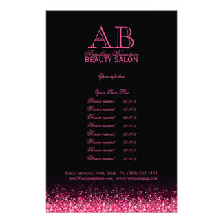 Shimmering Pink Star Design Black Price List Flyer