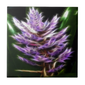 Shimmering Purple Fractal Flower Small Square Tile