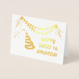 Shimmering Real Gold HAPPY SWEET 16 Typography Foil Card