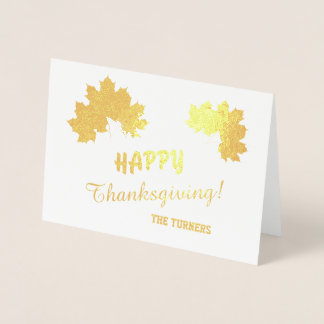 Shimmering Real Gold HAPPY THANKSGIVING Typography Foil Card