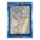 Shimmering Seashell Blue Beach Wedding Invitation