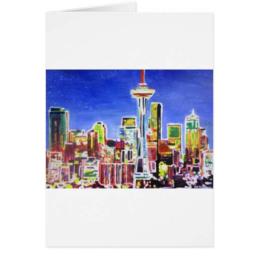 Shimmering Skyline Of Seattle With Space Needle Greeting Card