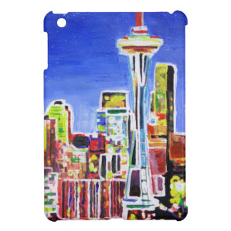 Shimmering Skyline Of Seattle With Space Needle iPad Mini Covers