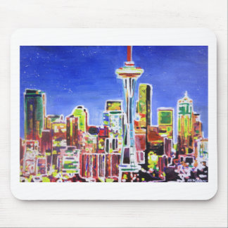 Shimmering Skyline Of Seattle With Space Needle Mousepads