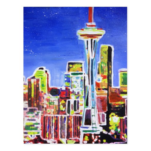 Shimmering Skyline Of Seattle With Space Needle Postcards