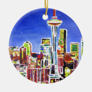 Shimmering Skyline Of Seattle With Space Needle Round Ceramic Decoration