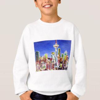 Shimmering Skyline Of Seattle With Space Needle Sweatshirt