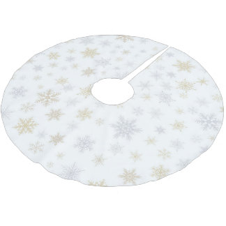 Cheap Shimmering Snow Brushed Polyester Tree Skirt With Silver Christmas