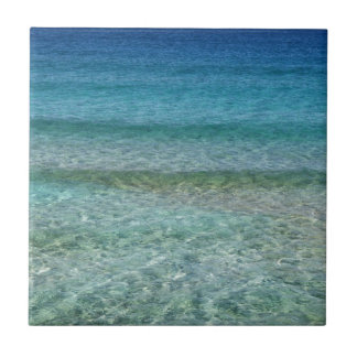 Shimmering Water Green and Blue Small Square Tile