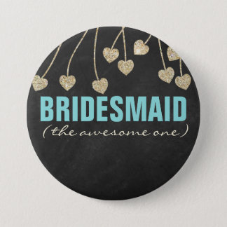 Shimmery Chic Bridesmaid Button Pin (blue)