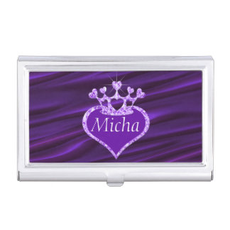 Shimmery Creased Purple Satin Crown Monogram Business Card Holder
