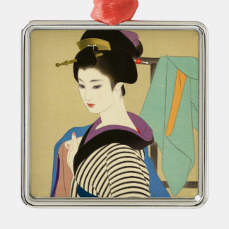 Shimura Tatsumi Two Subjects of Japanese Women Silver-Colored Square Decoration