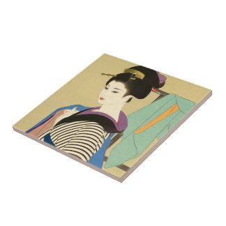 Shimura Tatsumi Two Subjects of Japanese Women Small Square Tile
