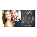 Shine Bright Holiday Photo Card - Gold Photo Greeting Card