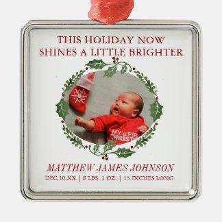 Shine Bright Newborn Christmas Wreath Announcement Christmas Ornament