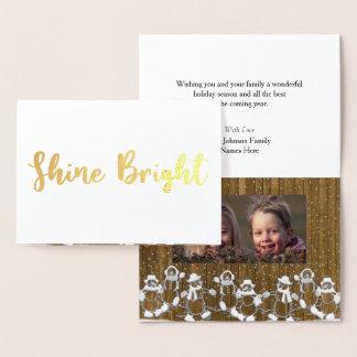 Shine Bright Snowman Christmas Photo Foil Card