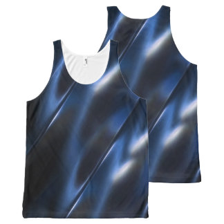 Shine Metallic Blue Abstract All-Over Print Tank Top