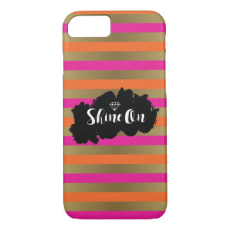 Shine On Pink Orange & Faux Gold Metallic Stripe iPhone 8/7 Case