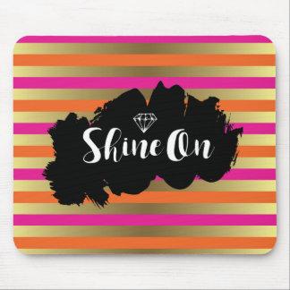Shine On Pink Orange & Faux Gold Metallic Stripe Mouse Pad