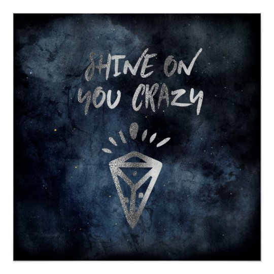 Shine On You Crazy Diamond Quote Silver Typography